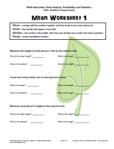 Mean Worksheet Level 1 (pg. 2)
