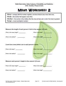 Mean Worksheet Level 2 (pg. 3)