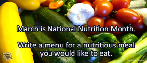 Writing Prompt for March 6: Nutrition