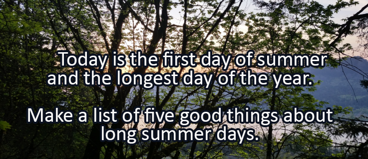 Writing Prompt for June 20: Summer Solstice