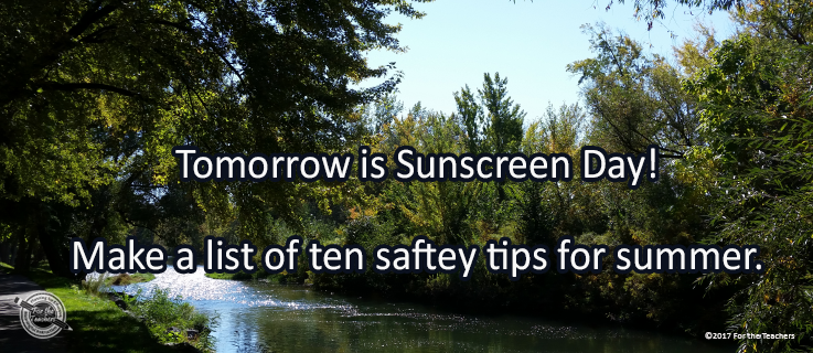 Writing Prompt for May 26: Sunscreen